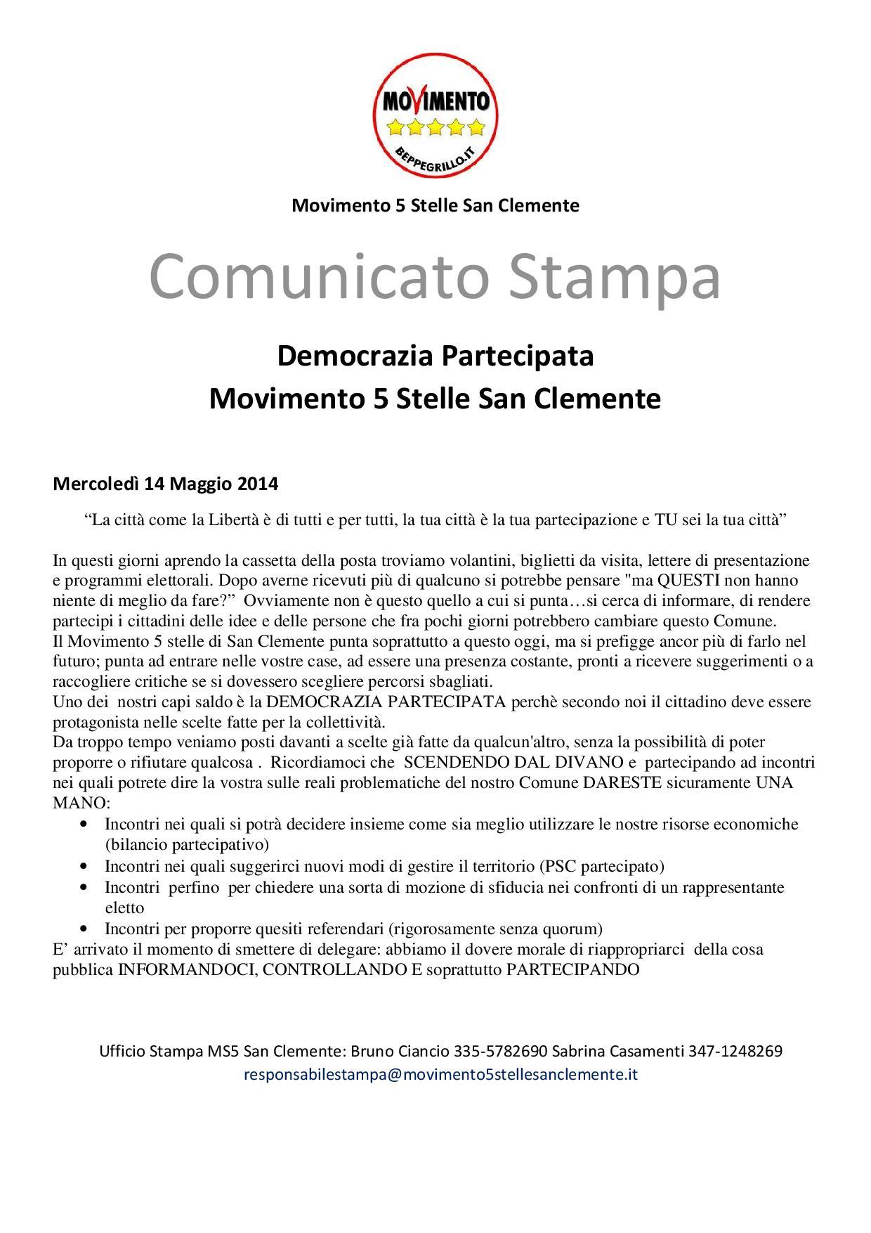 Comunicato Stampa M5S San Clemente democrazia partecipata